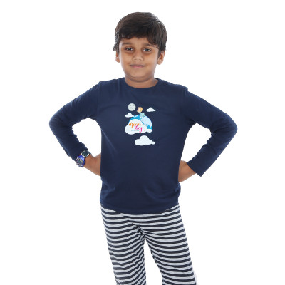 Blue Full Sleeve Boys Pyjama - Dream Big